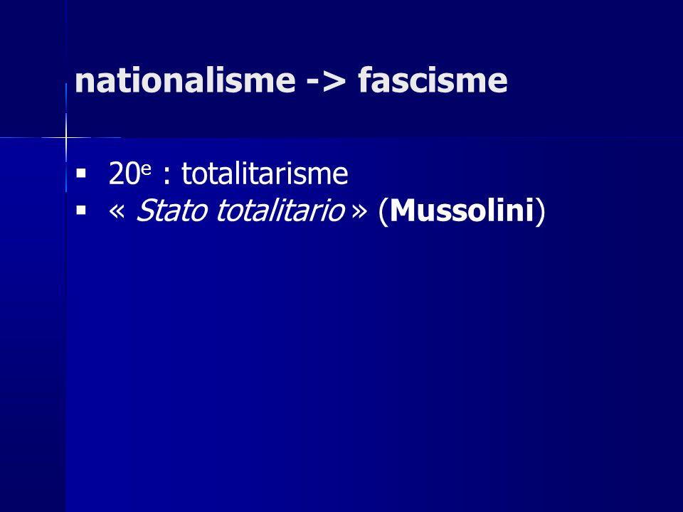nationalisme -> fascisme