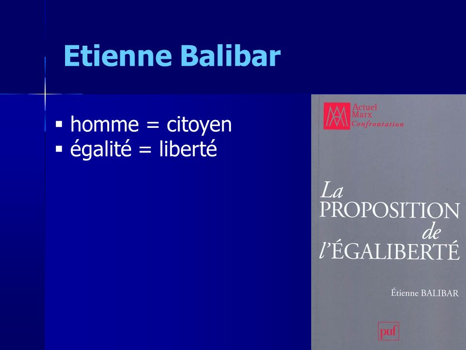 Etienne Balibar homme = citoyen égalité = liberté 6 6