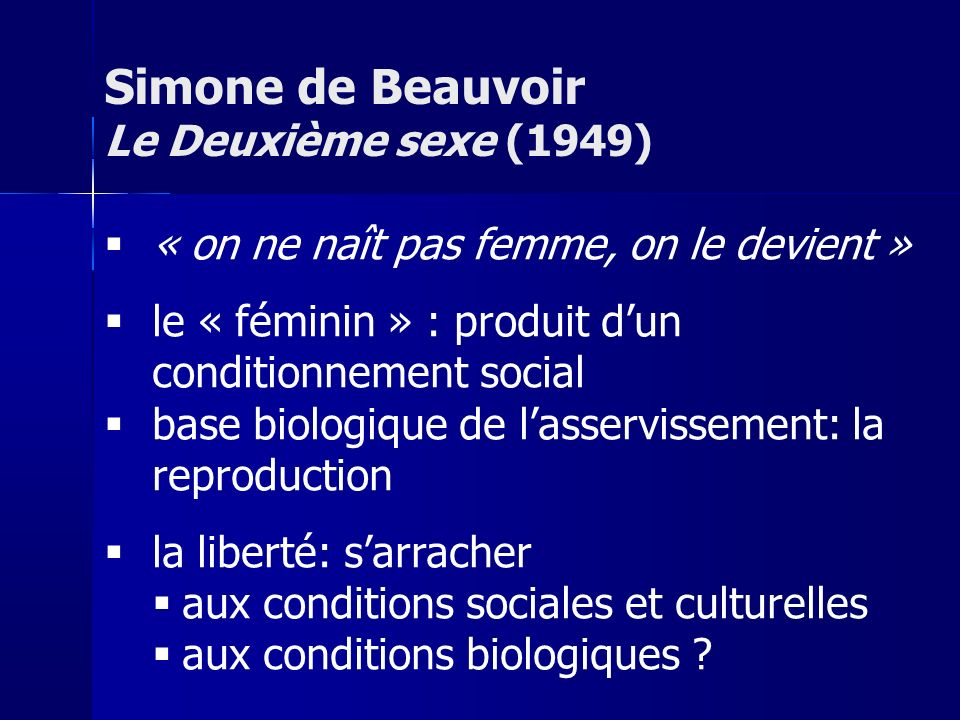 Simone de Beauvoir Le Deuxième sexe (1949)