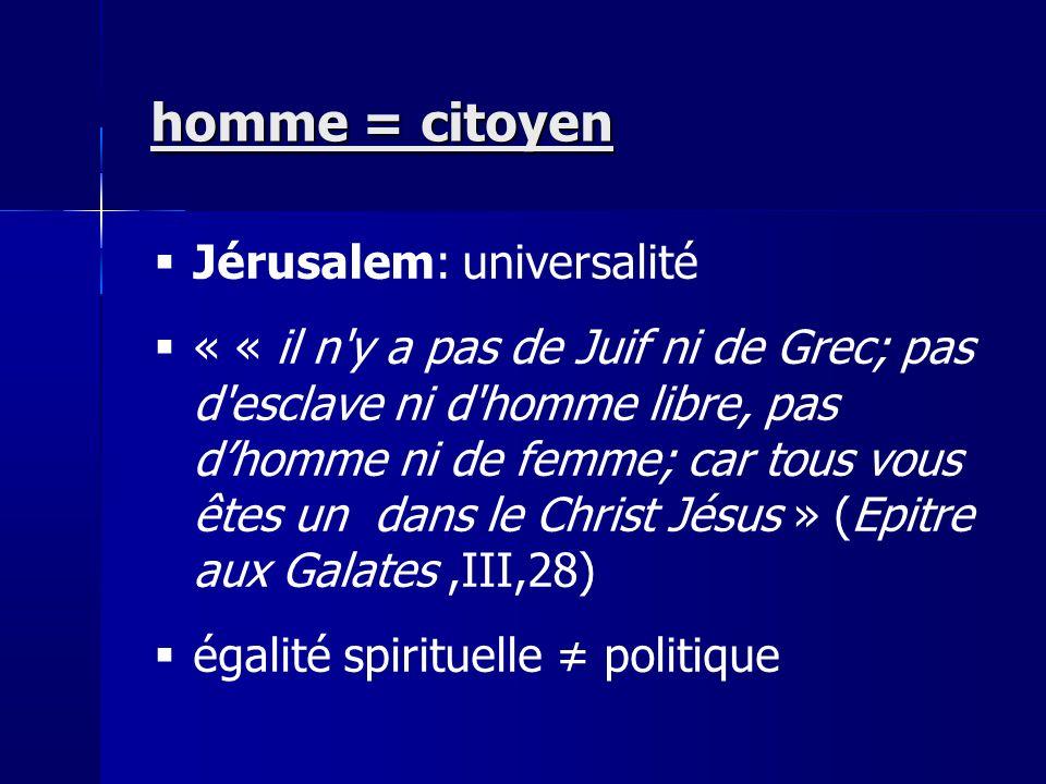 homme = citoyen Jérusalem: universalité
