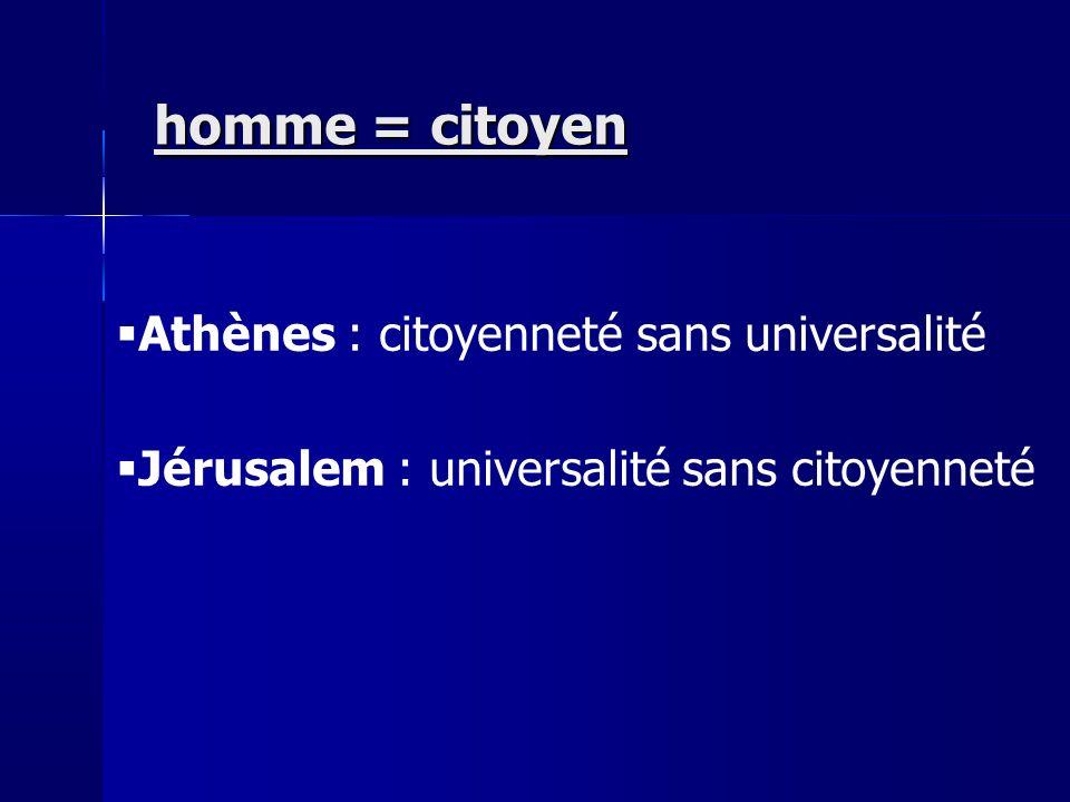 homme = citoyen Athènes : citoyenneté sans universalité