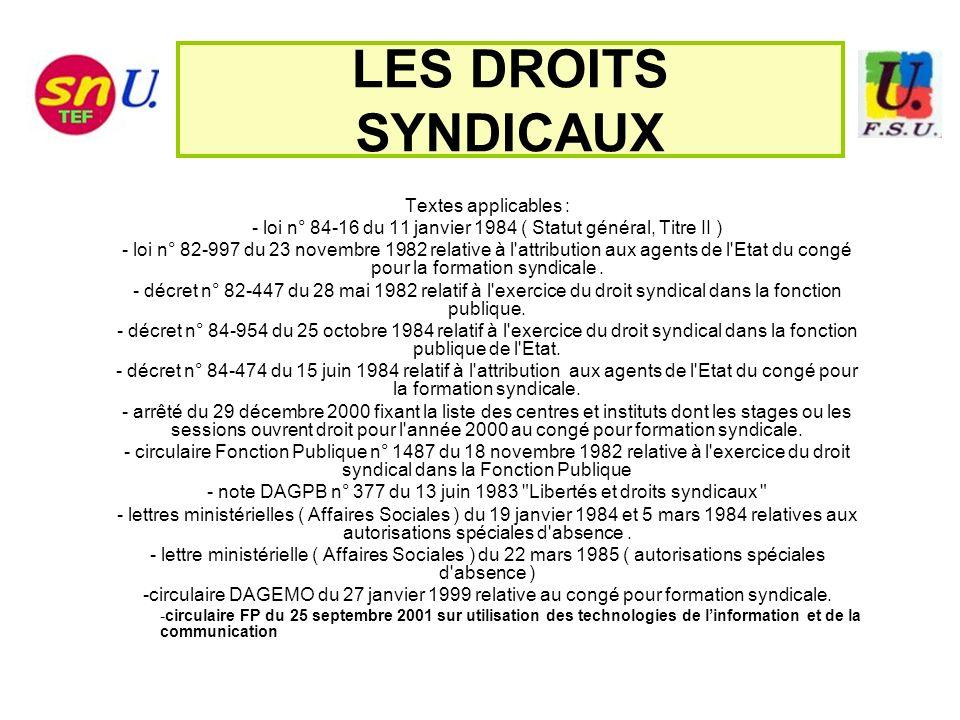 LES DROITS SYNDICAUX Textes applicables :