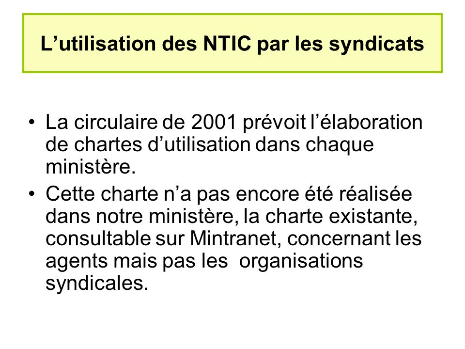L'utilisation des NTIC par les syndicats