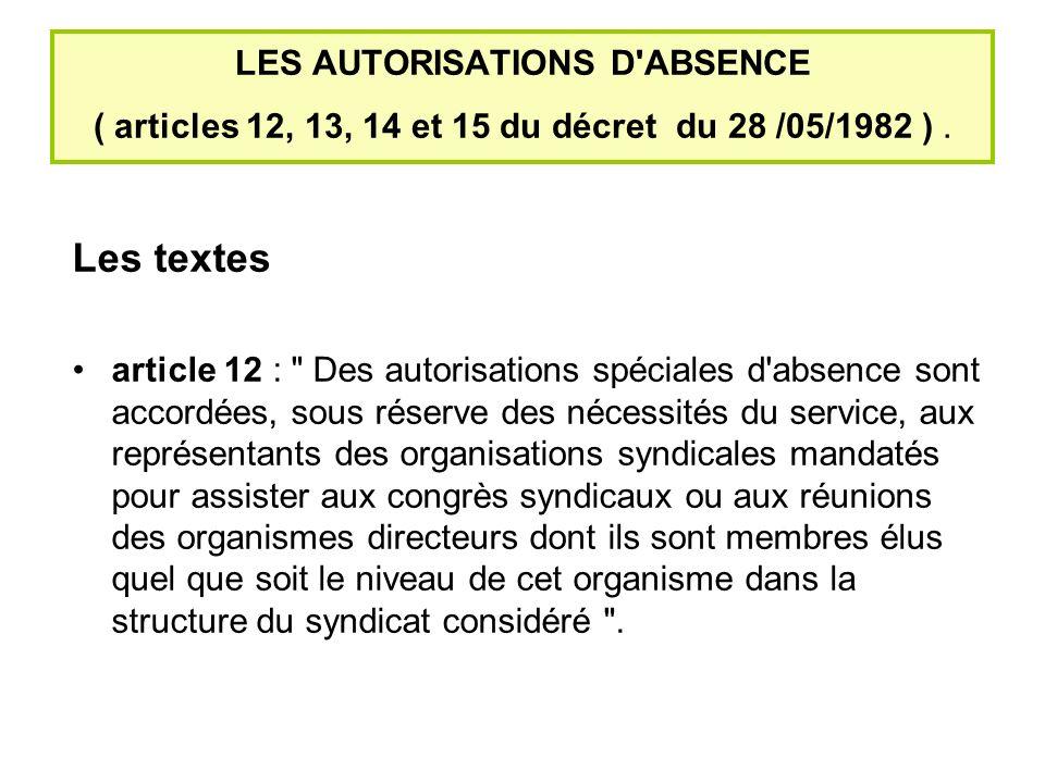 LES AUTORISATIONS D ABSENCE ( articles 12, 13, 14 et 15 du décret du 28 /05/1982 ) .