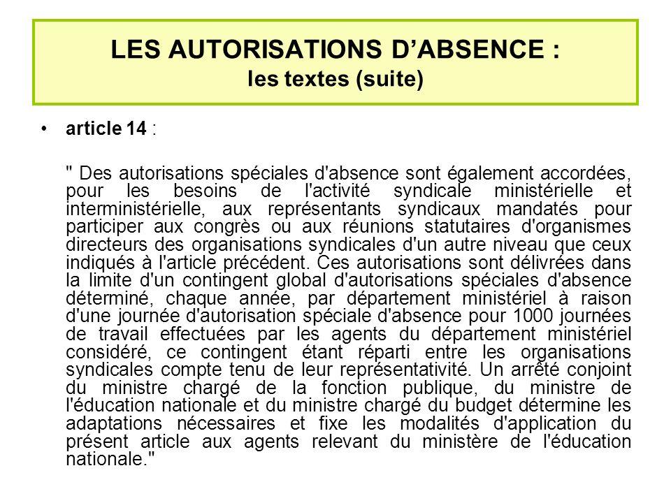 LES AUTORISATIONS D'ABSENCE : les textes (suite)