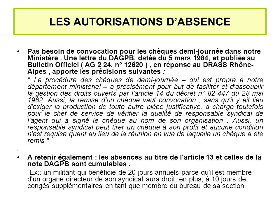 LES AUTORISATIONS D'ABSENCE