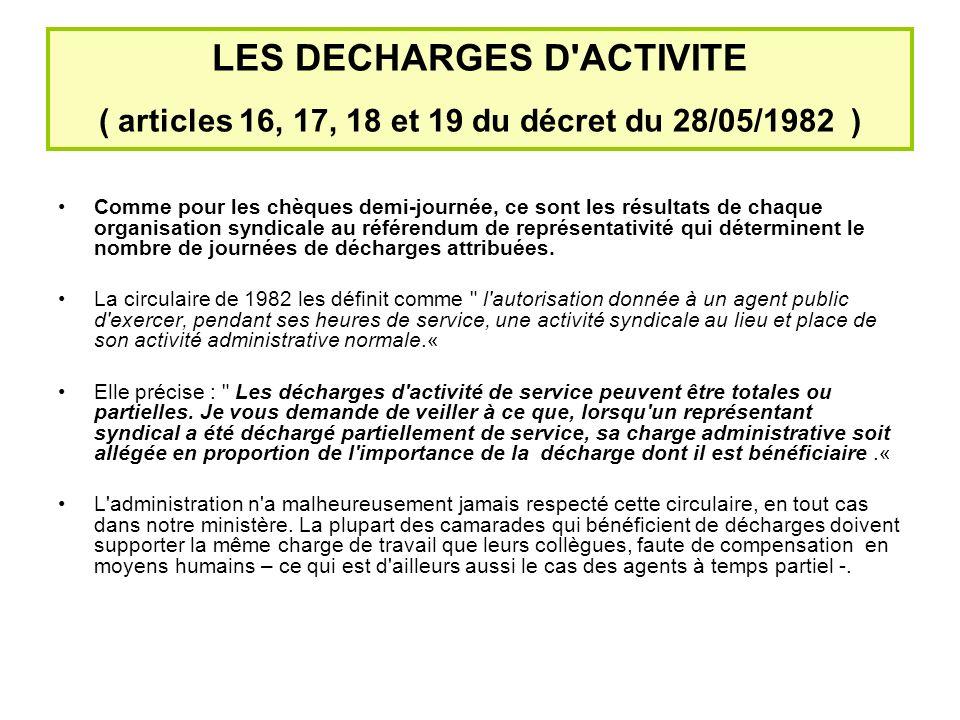 LES DECHARGES D ACTIVITE ( articles 16, 17, 18 et 19 du décret du 28/05/1982 )