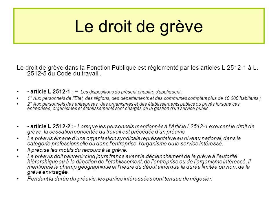 Le droit de grève Le droit de grève dans la Fonction Publique est réglementé par les articles L 2512-1 à L. 2512-5 du Code du travail .