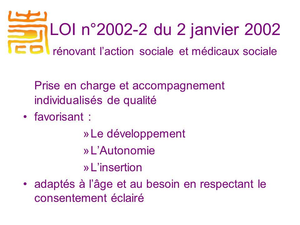 LOI n°2002-2 du 2 janvier 2002 rénovant l'action sociale et médicaux sociale