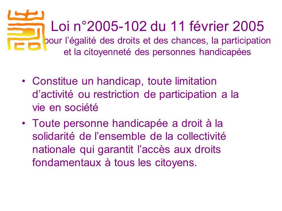 Loi n°2005-102 du 11 février 2005 pour l'égalité des droits et des chances, la participation et la citoyenneté des personnes handicapées