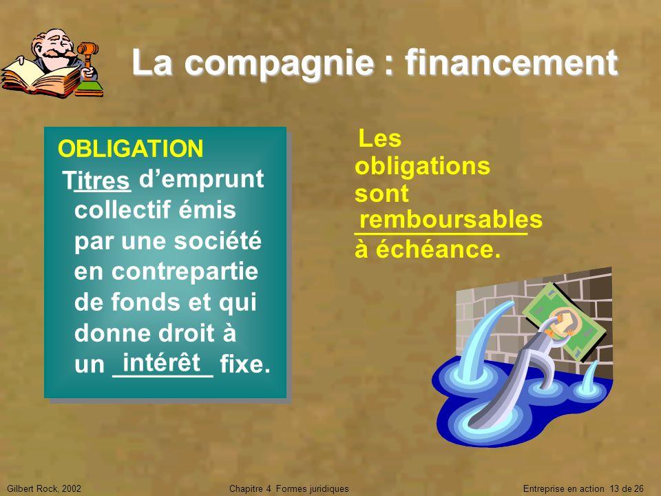 La compagnie : financement