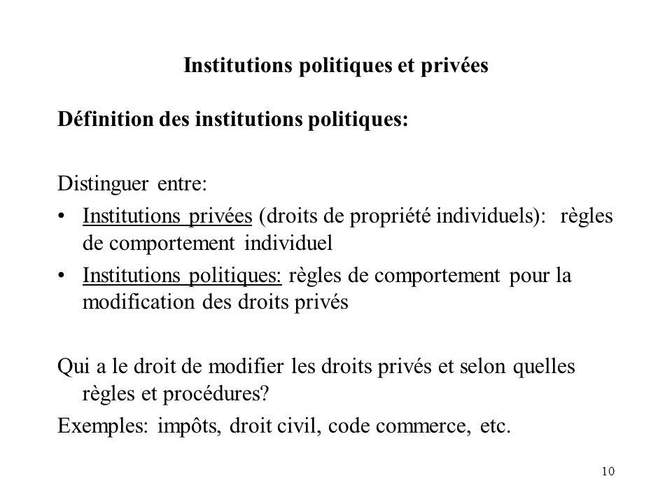 Institutions politiques et privées