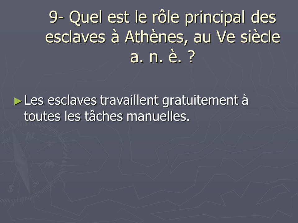 9- Quel est le rôle principal des esclaves à Athènes, au Ve siècle a. n. è.