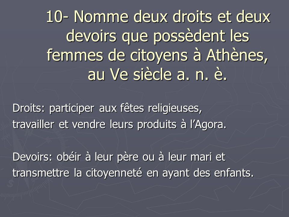 10- Nomme deux droits et deux devoirs que possèdent les femmes de citoyens à Athènes, au Ve siècle a. n. è.