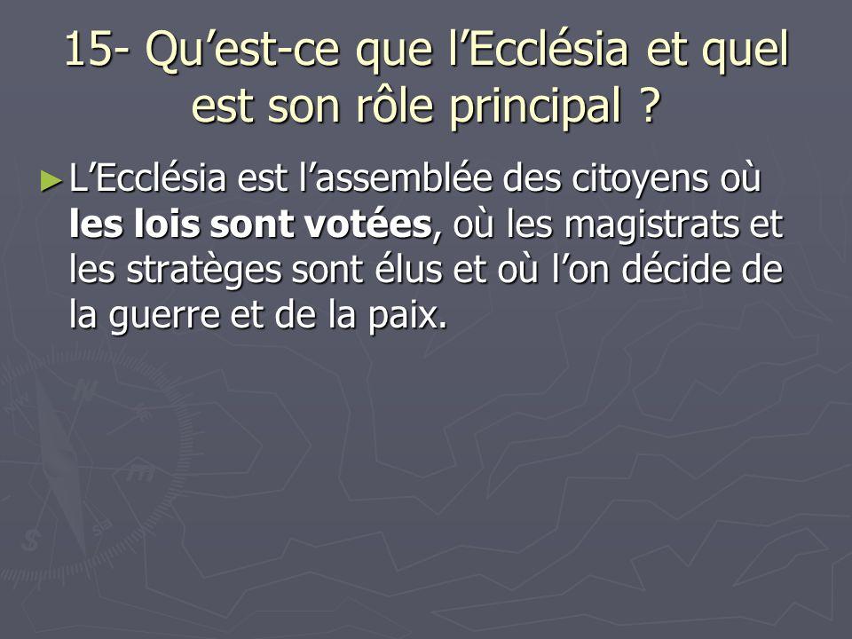 15- Qu'est-ce que l'Ecclésia et quel est son rôle principal