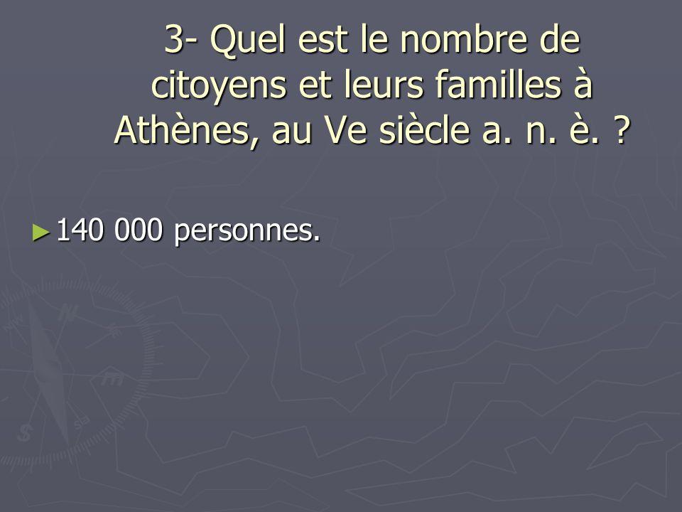 3- Quel est le nombre de citoyens et leurs familles à Athènes, au Ve siècle a. n. è.
