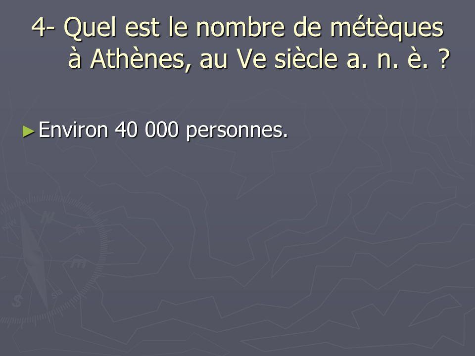 4- Quel est le nombre de métèques à Athènes, au Ve siècle a. n. è.