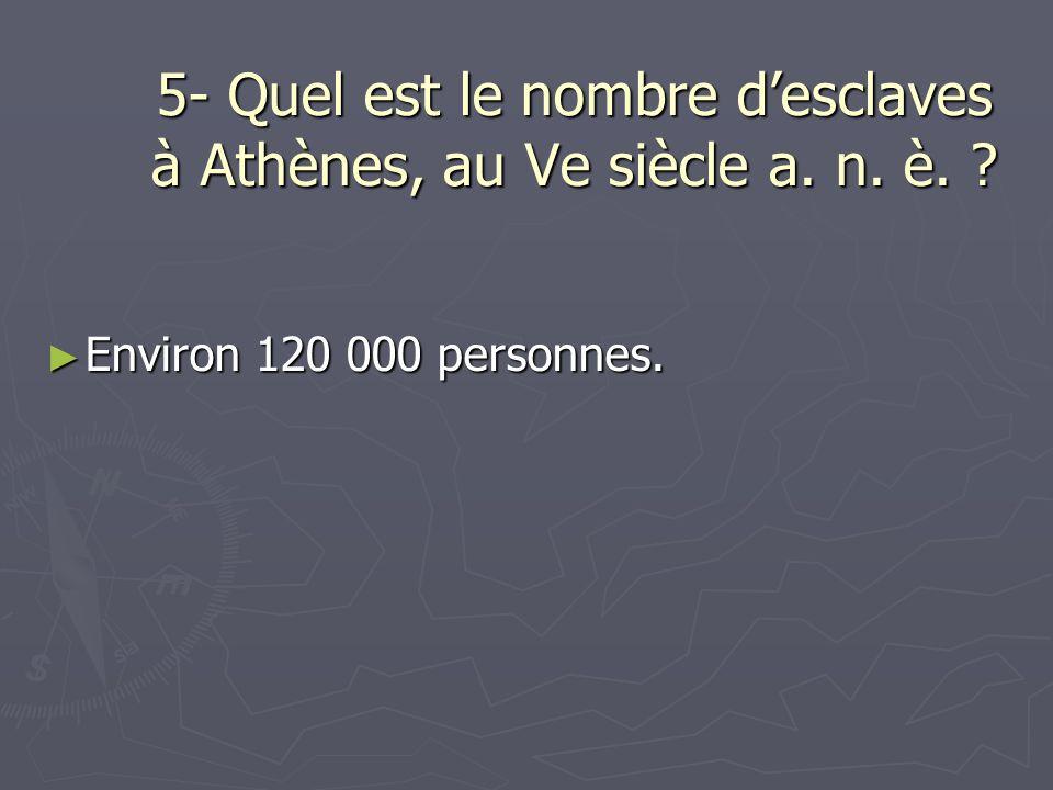 5- Quel est le nombre d'esclaves à Athènes, au Ve siècle a. n. è.