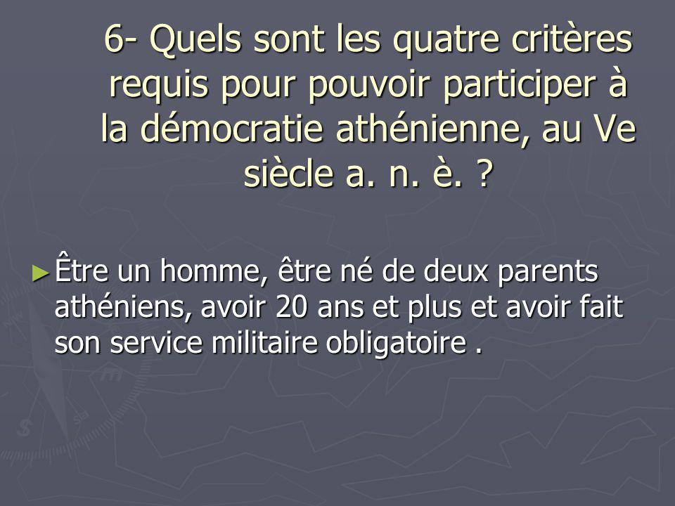 6- Quels sont les quatre critères requis pour pouvoir participer à la démocratie athénienne, au Ve siècle a. n. è.