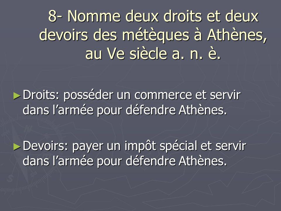 8- Nomme deux droits et deux devoirs des métèques à Athènes, au Ve siècle a. n. è.
