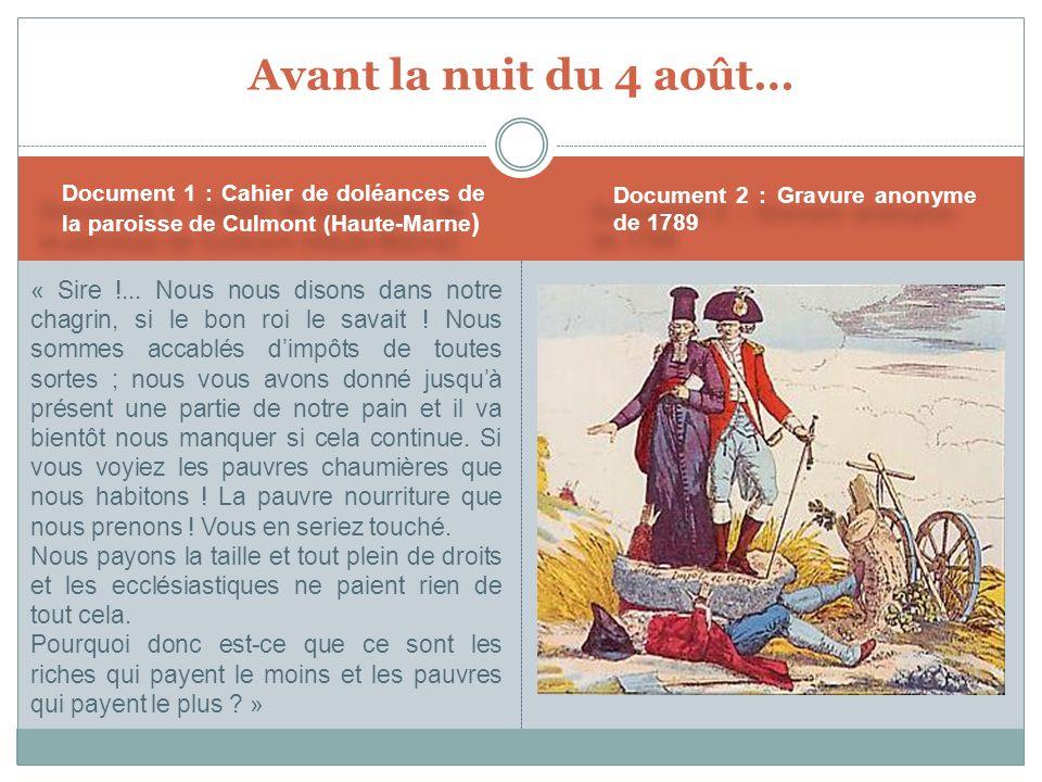 Avant la nuit du 4 août… Document 1 : Cahier de doléances de la paroisse de Culmont (Haute-Marne) Document 2 : Gravure anonyme de 1789.