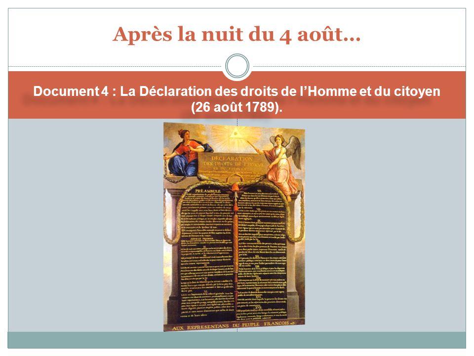 Après la nuit du 4 août… Document 4 : La Déclaration des droits de l'Homme et du citoyen (26 août 1789).