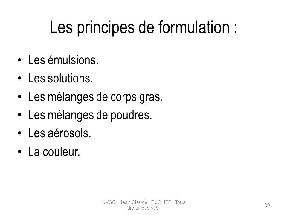 Les principes de formulation :
