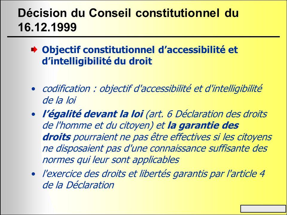 Décision du Conseil constitutionnel du 16.12.1999