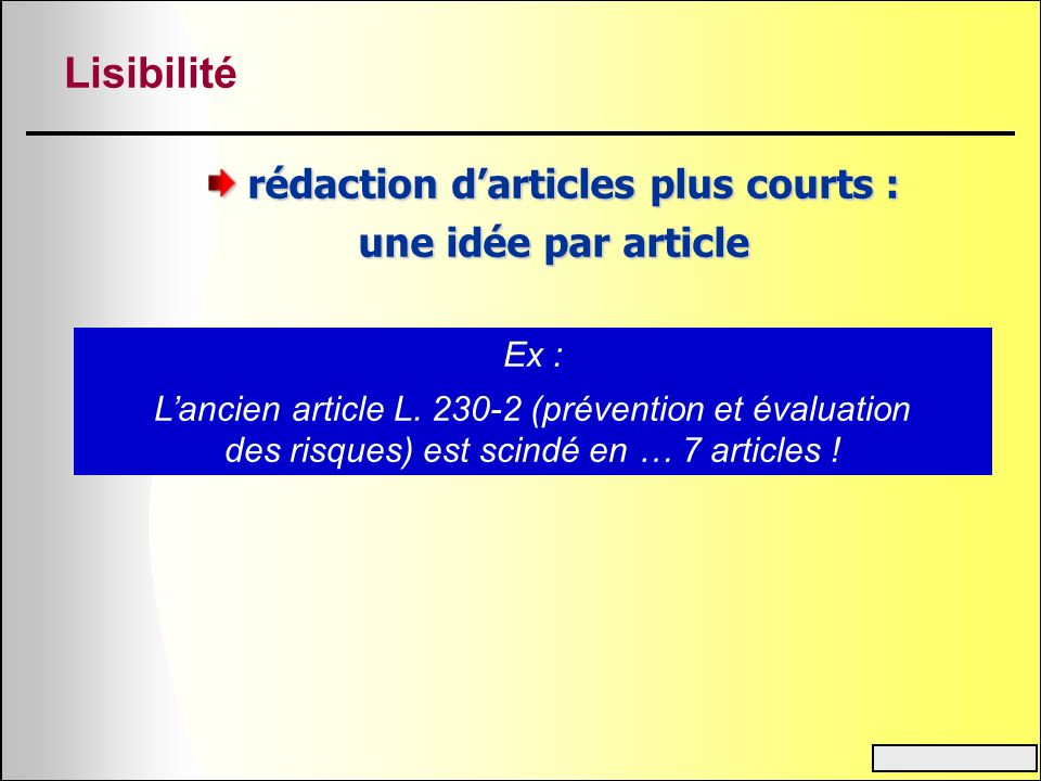 rédaction d'articles plus courts :