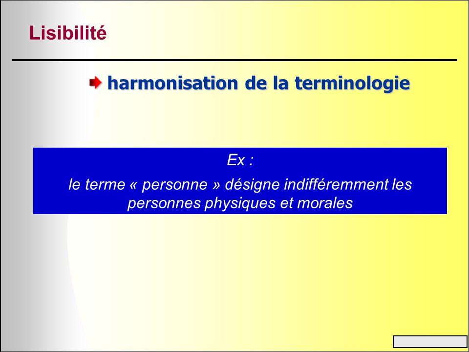 harmonisation de la terminologie