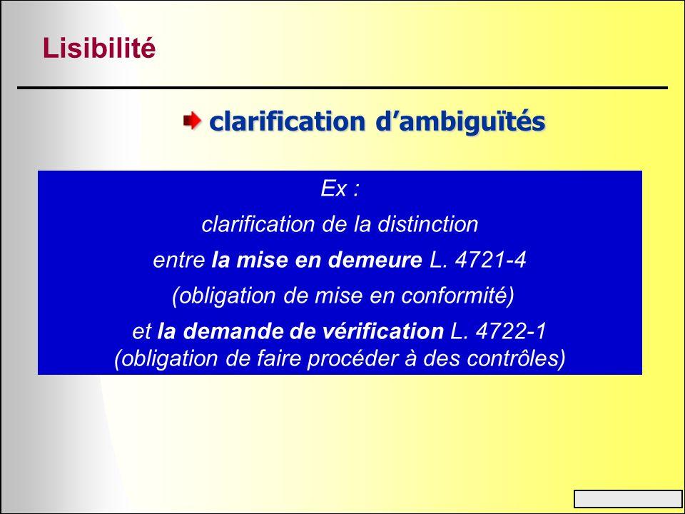 Lisibilité clarification d'ambiguïtés Ex :