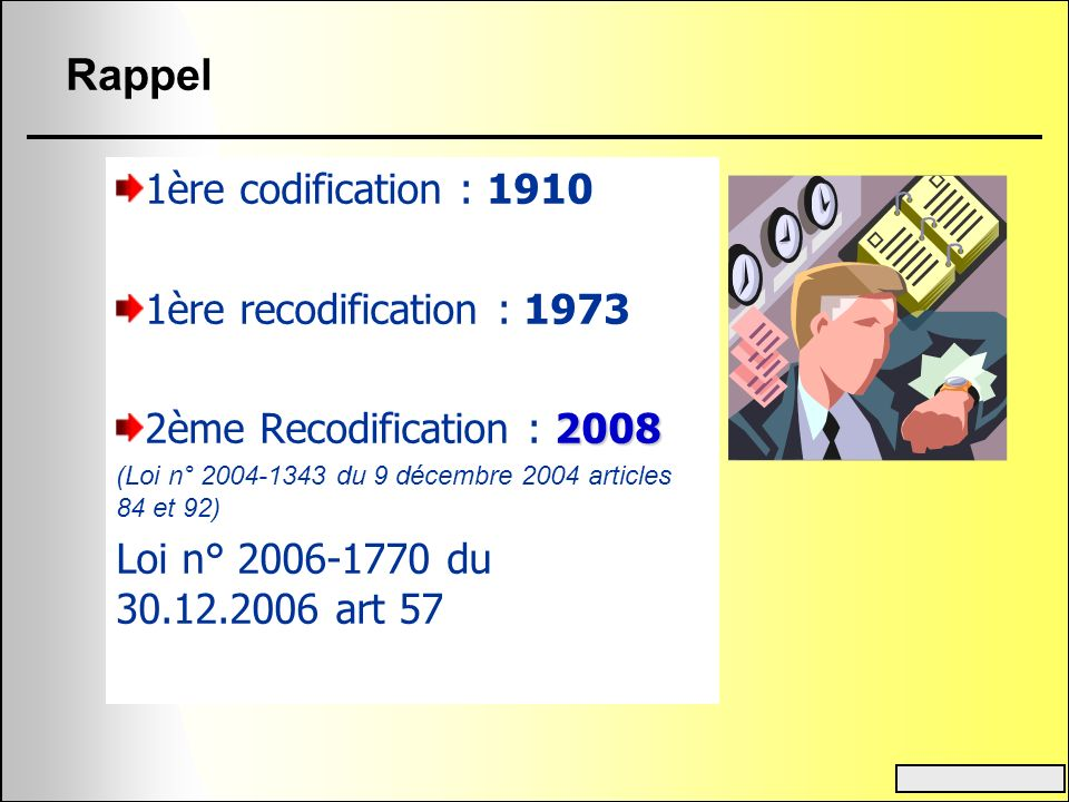 Rappel 1ère codification : 1910 1ère recodification : 1973