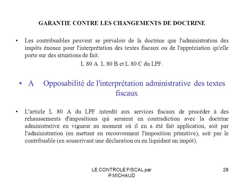 GARANTIE CONTRE LES CHANGEMENTS DE DOCTRINE