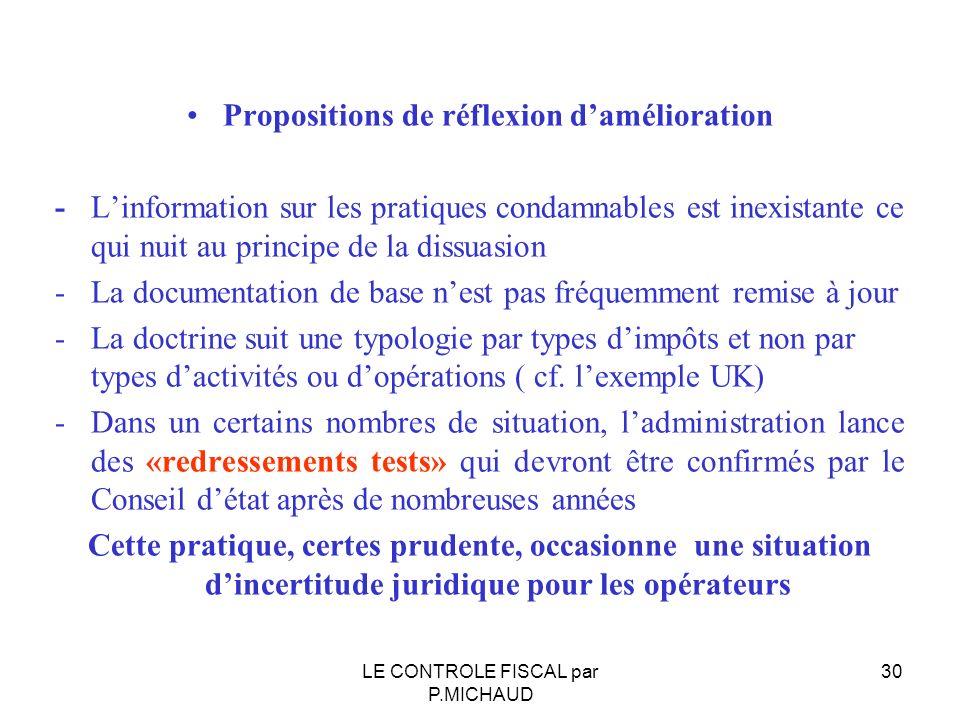 Propositions de réflexion d'amélioration