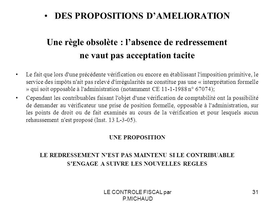 DES PROPOSITIONS D'AMELIORATION