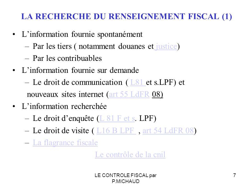 LA RECHERCHE DU RENSEIGNEMENT FISCAL (1)