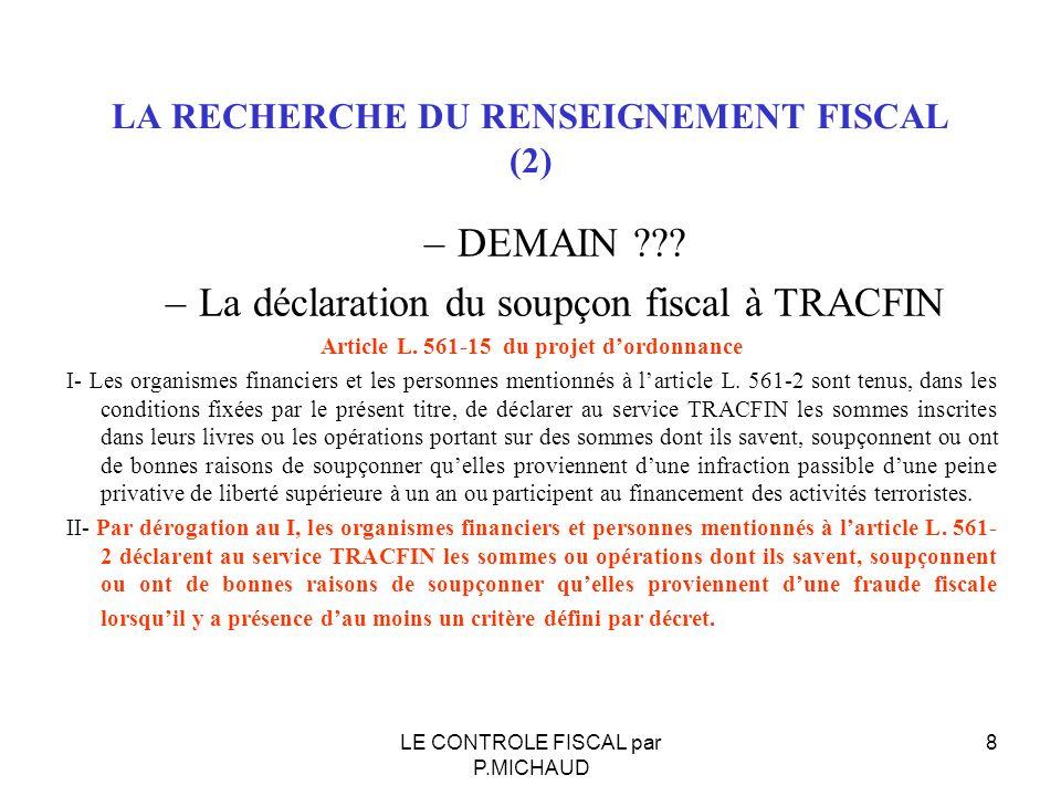 LA RECHERCHE DU RENSEIGNEMENT FISCAL (2)
