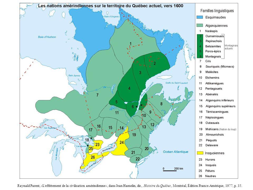 Raynald Parent, «L effritement de la civilisation amérindienne», dans Jean Hamelin, dir., Histoire du Québec, Montréal, Édition France-Amérique, 1977, p.