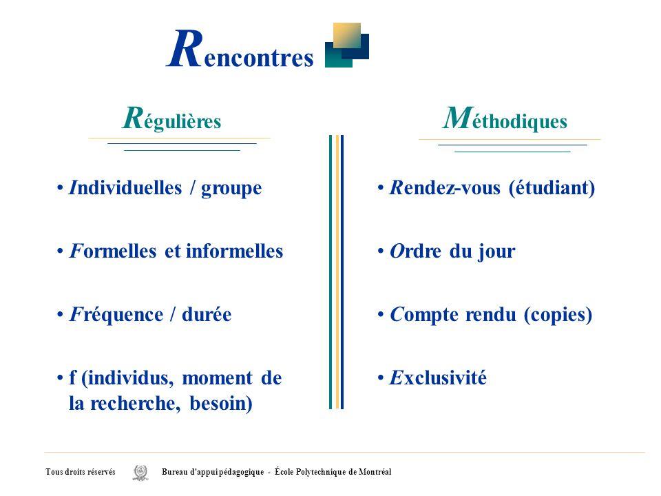 Rencontres Régulières Méthodiques Individuelles / groupe