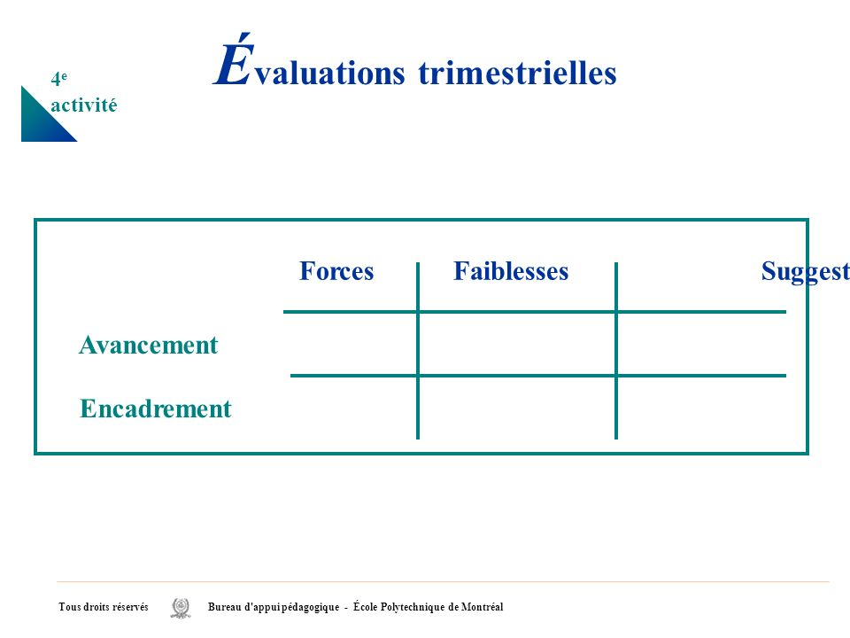 Évaluations trimestrielles