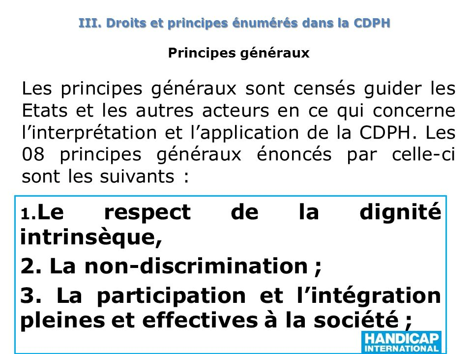 2. La non-discrimination ;