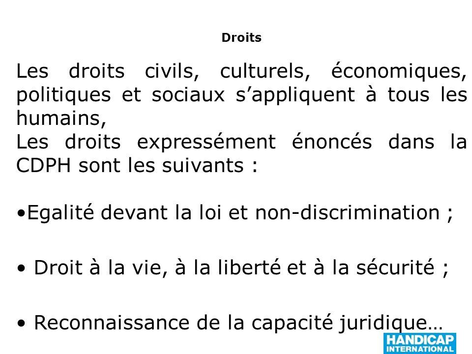 Les droits expressément énoncés dans la CDPH sont les suivants :