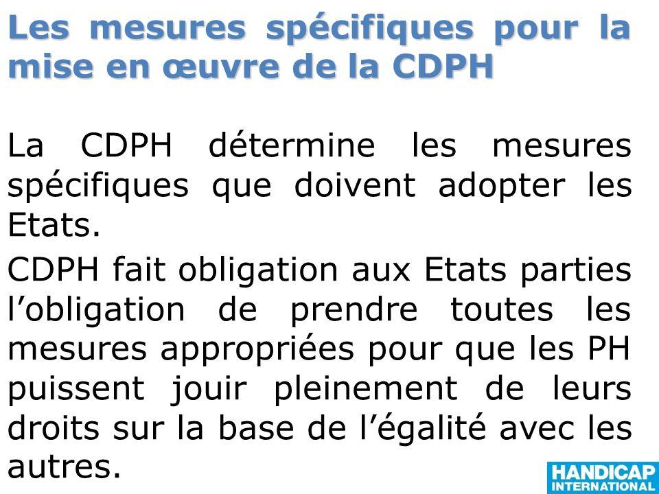 Les mesures spécifiques pour la mise en œuvre de la CDPH