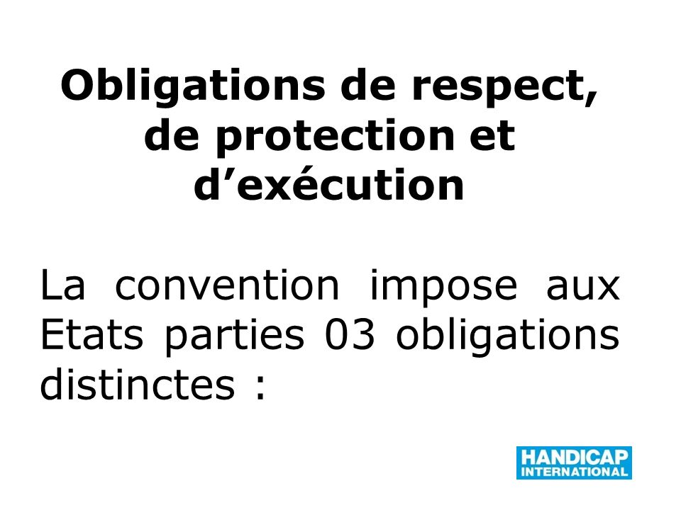Obligations de respect, de protection et d'exécution