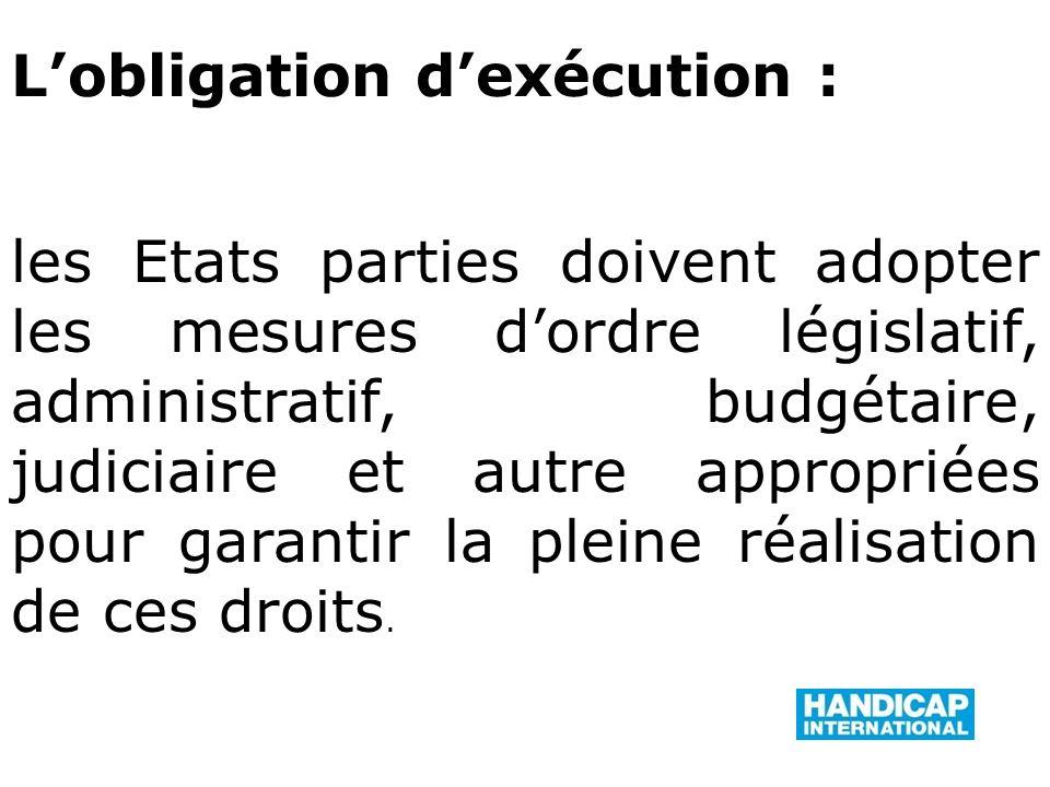 L'obligation d'exécution : les Etats parties doivent adopter les mesures d'ordre législatif, administratif, budgétaire, judiciaire et autre appropriées pour garantir la pleine réalisation de ces droits.