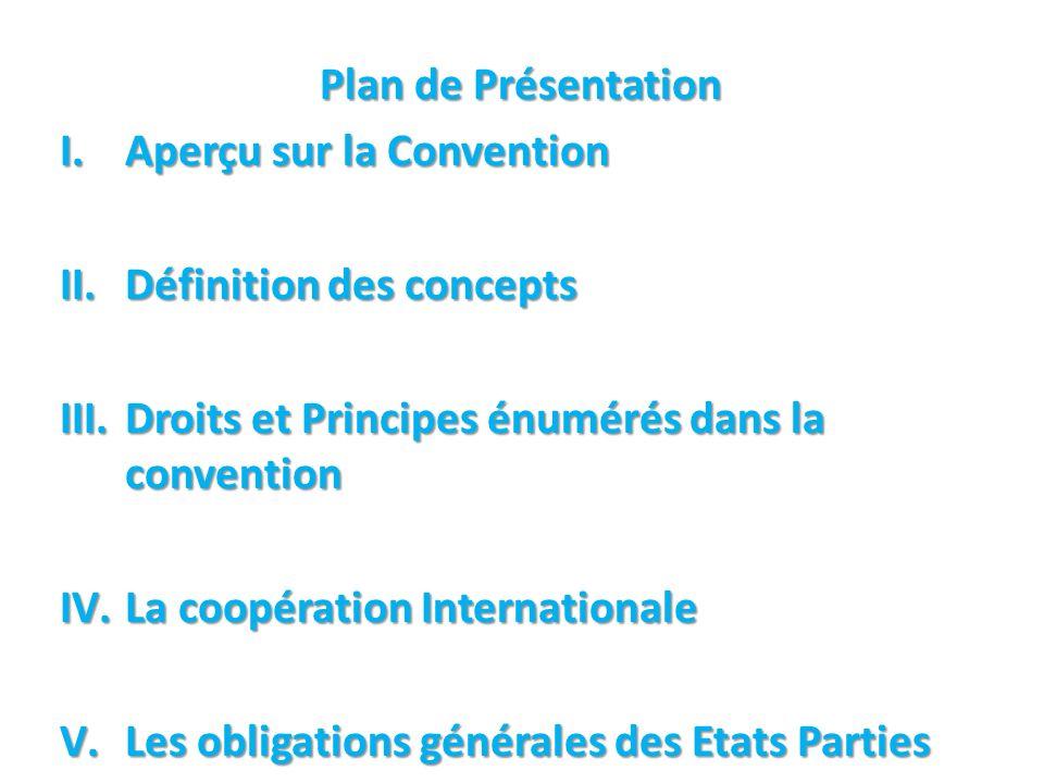 Plan de Présentation Aperçu sur la Convention. Définition des concepts. Droits et Principes énumérés dans la convention.