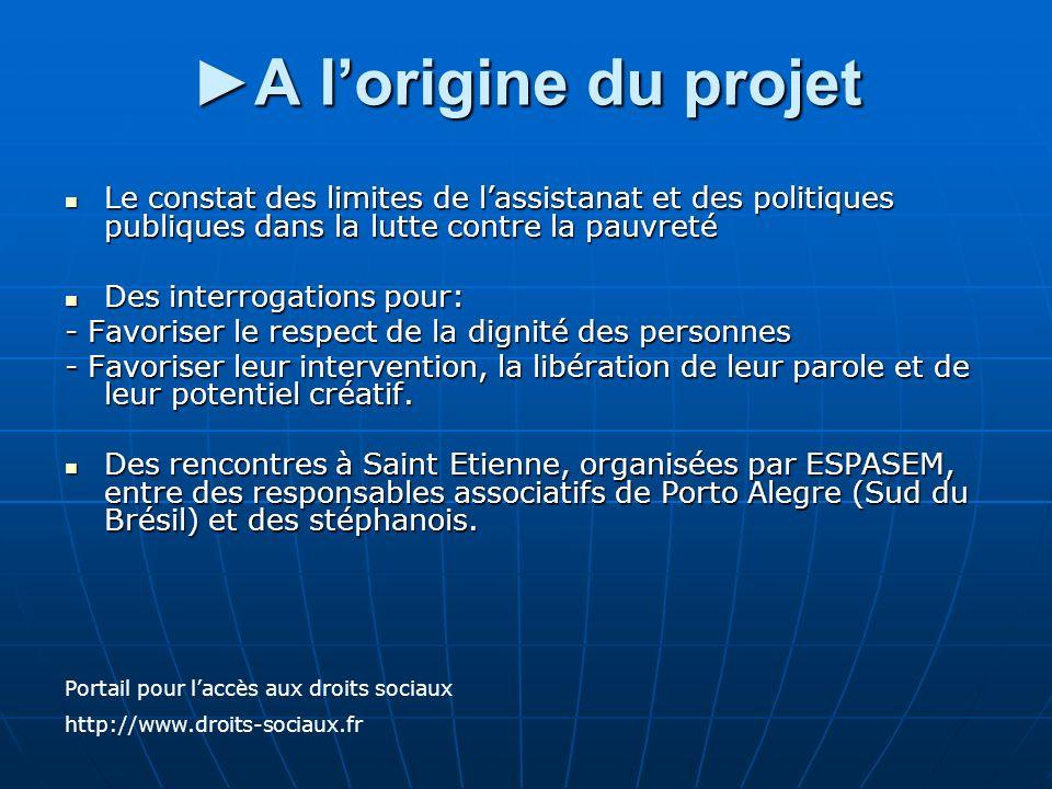 ►A l'origine du projet Le constat des limites de l'assistanat et des politiques publiques dans la lutte contre la pauvreté.