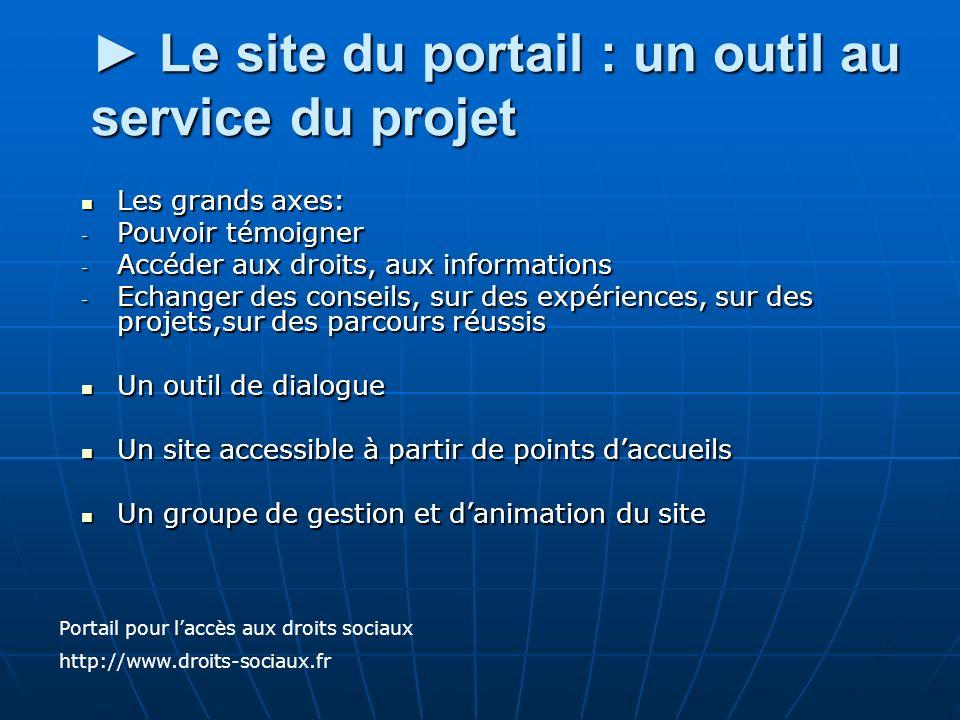 ► Le site du portail : un outil au service du projet