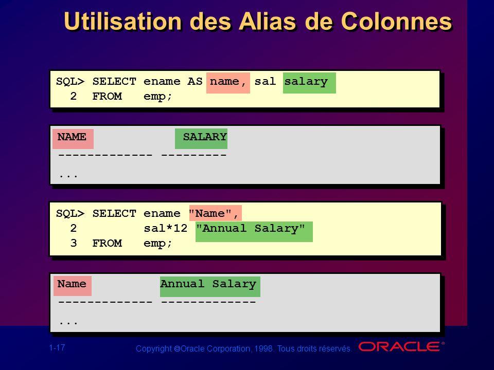 Utilisation des Alias de Colonnes