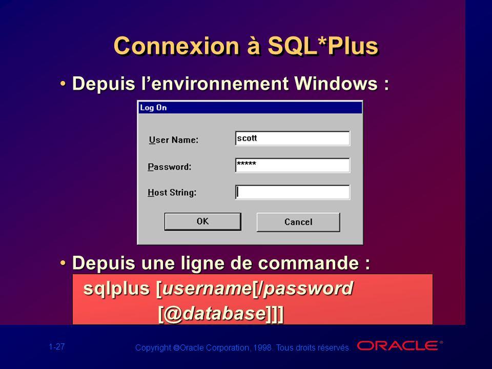 Connexion à SQL*Plus Depuis l'environnement Windows :
